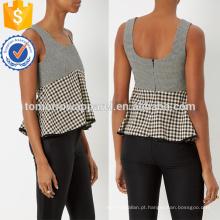 Decote colher larga mangas peplum top manufatura atacado moda feminina vestuário (ta4061b)