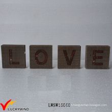 """""""Love"""" Recycle Wood Wholesale Rustic Vintage Sign Freestand Letters"""