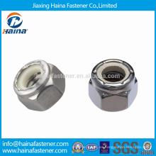 De alta calidad DIN982 acero inoxidable hexagonal tuercas gruesas con inserto azul / blanco