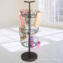 Schuhe Einzelhandel Store Werbeartikel Metall-Standing Standing 3-Layer Turnable Flip Flops Display Rack