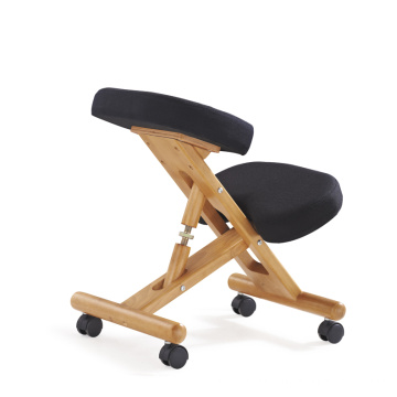 Wooden Frame Ergonomic Kneeling Chair Yoga folding Chair, Black Fabric