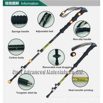 Bastón de trekking ajustable con material de fibra de carbono