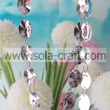 Clear White Faceted 18*25MM Flat Round Plastic Crystals Wave Swing Bead Garland For Doorway