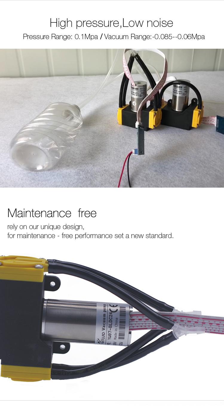 YW07-BLDC-12V 24V Brushless Diaphragm Pump Dual Head Oil-free Vacuum Air Pump Flow Rate 10L/min