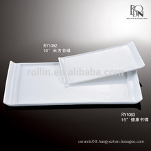 Nice white rectangular porcelain plates porcelain buffet plate factory in Chaozhou