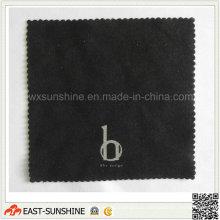 Черная ткань для чистки с тиснением под серебро (DH-MC0354)