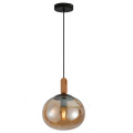 Suspension boule ambre moderne en verre 1Light