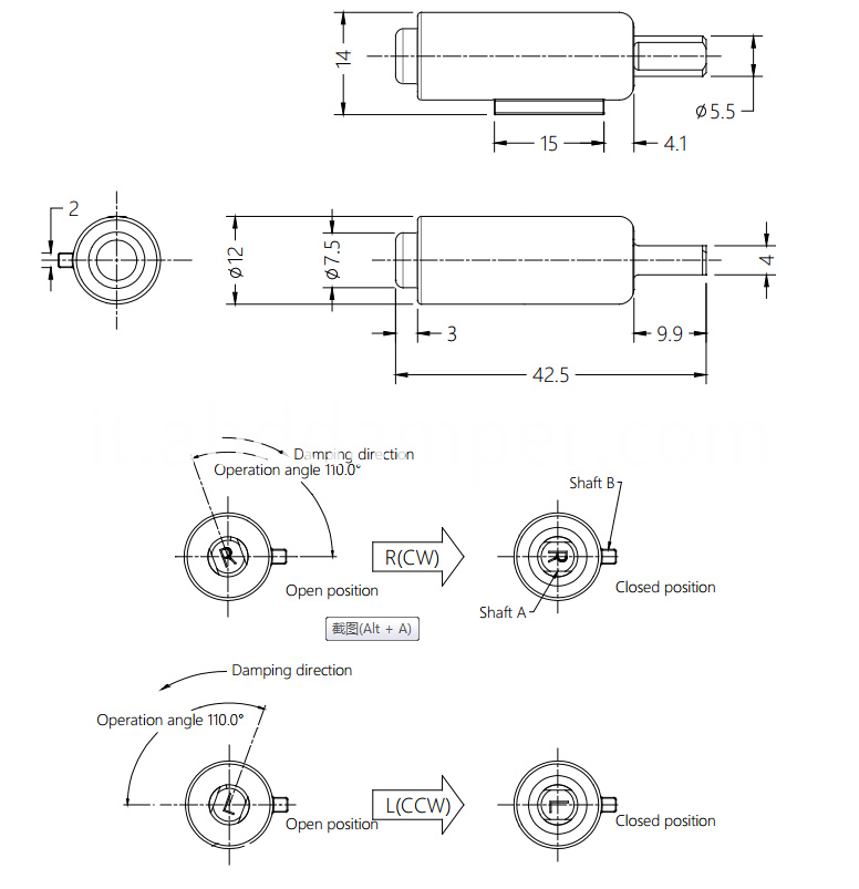 Rotary Damper Drawing For Dishwasher
