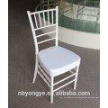 Glossy Plastic Resin White Chiavari Tiffany Stuhl mit Stahl Kern