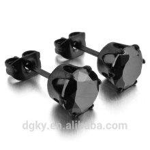 Black CZ Aço Inoxidável Stud Earrings Royal King Crown Aro Redonda Ear Studs