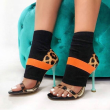 New Arrival Ankle Wrap Knitting Ladies High Heel Boots Sandals Open Toe Socks Sandals For Women