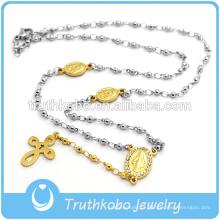 Dois tons de aço inoxidável bead abençoado mary religiosa cruz charme colar com chapeamento de vácuo de ouro