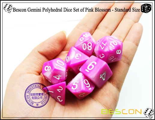 Bescon Gemini Polyhedral Dice Set of Pink Blossom-2