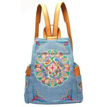 Fashion PU Trim Denim Fabric Ladies Backpack (ZX0008)