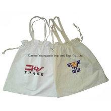 Promocional Personalizado reutilizable de 8oz de algodón de tracción bolsa de algodón