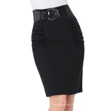 Kate Kasin Women's Shirred Detail High Stretchy Pencil Skirt with Wide Belt KK000271-1