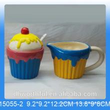 Popular ceramic sugar pot and milk jug in icecream shape