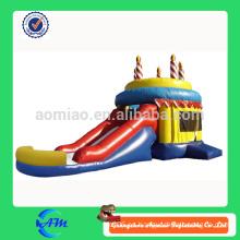 Regalo de cumpleaños combo inflable de la diapositiva inflable del bouncer de la torta de cumpleaños