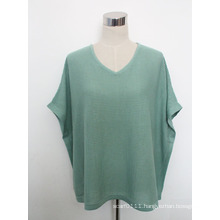 Lady Fashion Cotton Knitted V-Neck Shirt (YKY2230-1)
