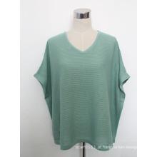 Lady Fashion Cotton Malha V-Neck Shirt (YKY2230-1)