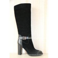 Botas quentes de couro da senhora com sapatos de salto alto com estilo europeu