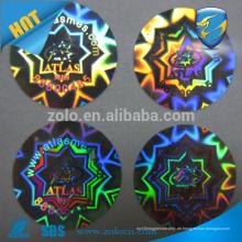 Billige 3D holographische Aufkleber für Parfümflaschen China liefern benutzerdefinierte Logo drucken Hologramm Aufkleber für Tablette