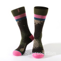 Robuste Anti-Schrumpf-Strick-Jacquard-Design-Socken