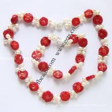 Gets.com 2015 красные коралловые ожерелья ювелирные наборы