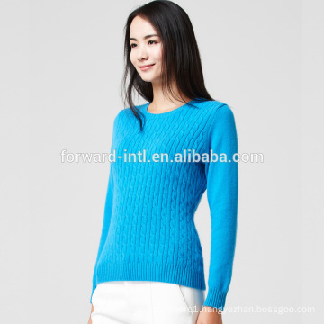 low price knitted long sleeve v neck wool cashmere cable sweater