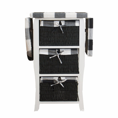 Centre with Storage Baskets Chest of Drawers Furniture Wood Wicker Folding Ironing Board