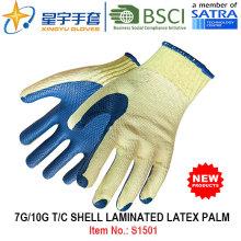 7g / 10g T / C ламинированные латексные ладонные перчатки безопасности для рук (S1501) с CE, En388, En420 для строительных перчаток