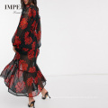 Clothes 2020 Rose Tiered Retro Long Skirt Casual Women Dress