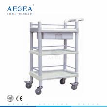 AG-UTA07 3-layer abs plástico utilidad médica carro con cajón en venta