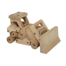 high quality DIY assembling wooden bulldozer toy for boys