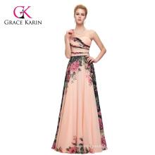 Grace Karin New Fashion Ladies Chiffon Backless Long Floral Printing big size women dress evening dress CL7503