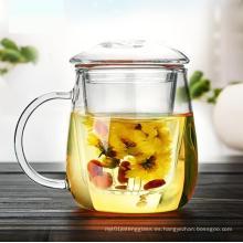 Hecho a mano calor Resitance taza de té de vidrio con infusión y tapa