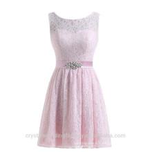 Wholesale Short Cheap Bridesmaid Dresses 2016 Lace Evening Dress with Crystal Sash Women Prom Dresses LBB04