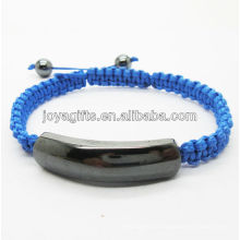 Nuevo diseño pulsera tejida azul hematita magnética