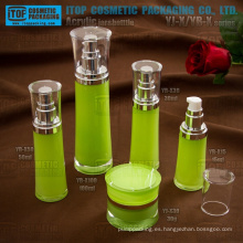 Envases cosméticos de alta calidad cristalina capas dobles high-end redondo cintura acrílico crema tarro y botella de la loción