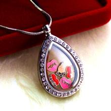 New Design Floating Locket Teardrop Shaped Pendant Necklace