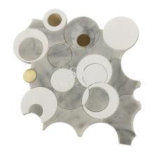 Soulscrafts White Thassos Brass Circle  Blend Foshan Marble Waterjet Mosaic Tile