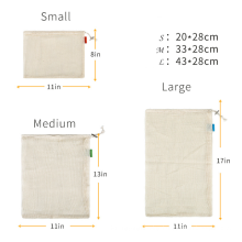 Customized logo Reusable Cotton Mesh Produce Bags Cotton Bag With Draw String