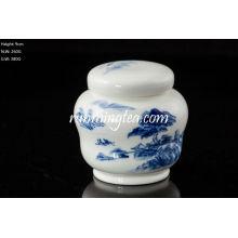 Boîte en céramique de paysage bleu style unique