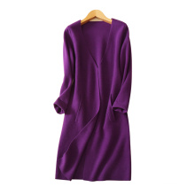 Women's fashion long cashmere coat no buttons thick winter overcoats with V-neck pockets decor knitting clothing