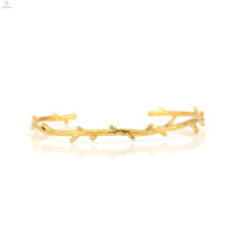 Gold Plated Branch Cuff Bangle Copper Thorn Bracelet