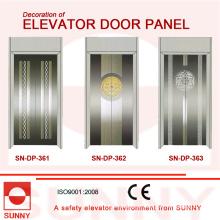 Panel de la puerta de acero inoxidable cóncavo verde para la decoración de la cabina del elevador (SN-DP-366)