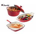 Venta caliente de hierro fundido rojo Cookware Set
