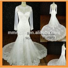 Floor Length Custom Made Formal Brides Wedding Big Train wedding dress long sleeve