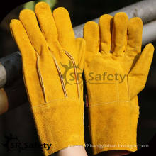 SRSAFETY yellow split leather glove with welding in factory