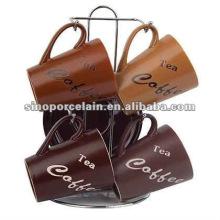 El café de cerámica superventas fijó 8pcs con el estante del metal para BS12009